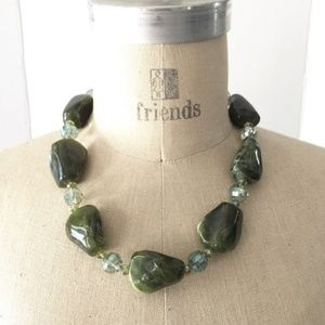 AB & Green Faux Stone Glass Beaded Necklace
